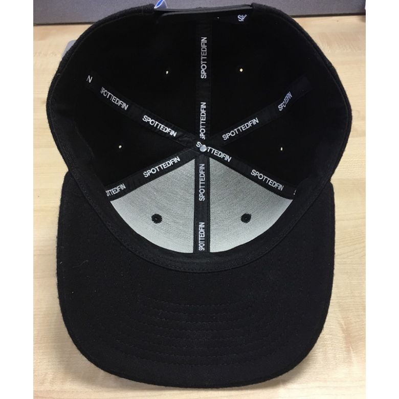Spotted Fin Black Peaked Cap