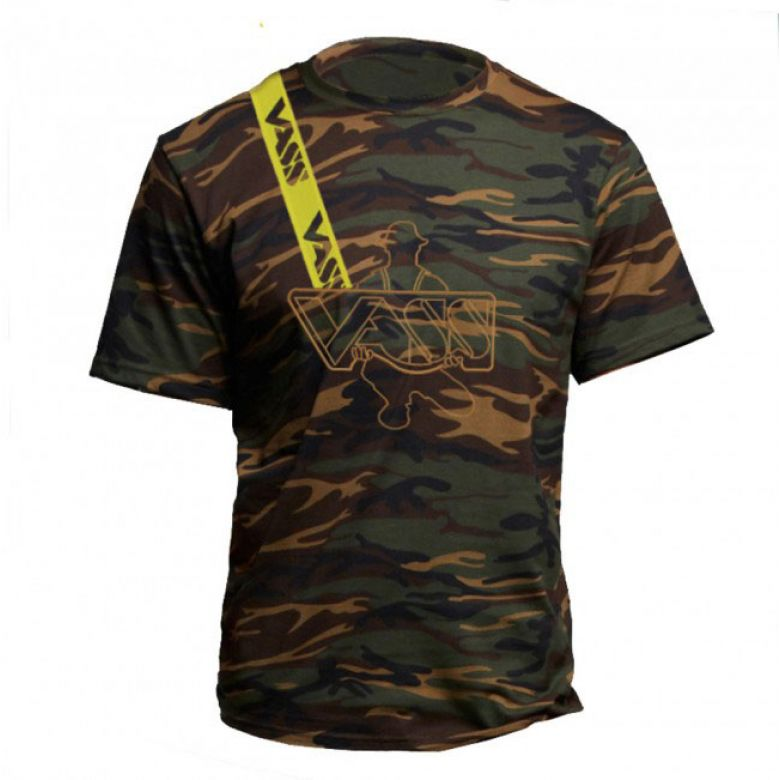 Vass Embroidered Camouflage T-Shirt with Yellow Printed Vass Brace XL