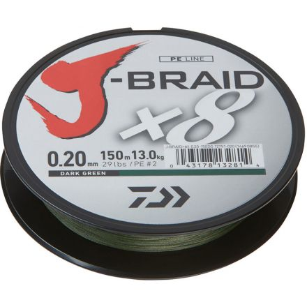 DAIWA J-Braid x8 Meterware Dunkelgrün - 0,20 mm - 16,0 kg
