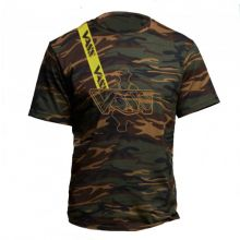 Vass Embroidered Camouflage T-Shirt with Yellow Printed Vass Brace L