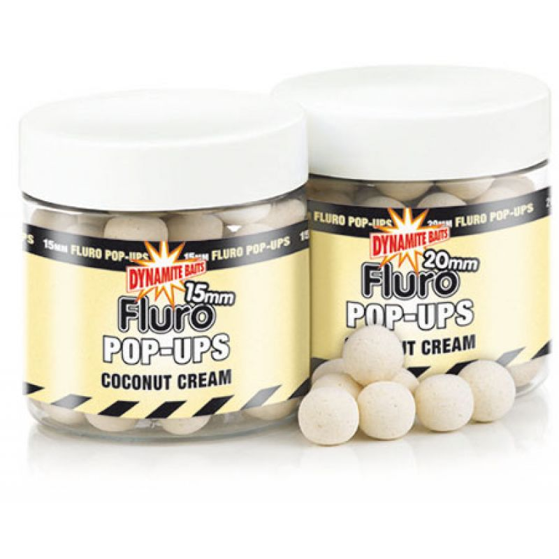 dynamite baits fluro pop ups coconut cream 10 mm kl. Black Bedroom Furniture Sets. Home Design Ideas